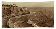 Point Vicente Lighthouse Palos Verdes California - Sepia Rendition Beach Sheet
