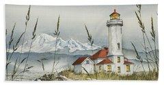 Point Wilson Lighthouse Beach Towel by James Williamson