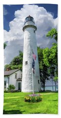 Beach Towel featuring the painting Pointe Aux Barques Lighthouse by Christopher Arndt