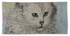 Poised Cat Beach Towel by Kim Tran