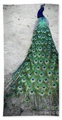 Poised Peacock Beach Towel