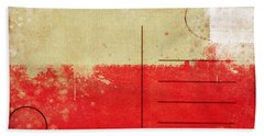 Poland Flag Postcard Beach Towel