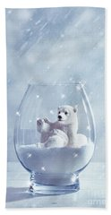 Polar Bear In Snow Globe Beach Towel