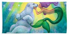 Polar Bear Kiss Beach Sheet by Sue Halstenberg