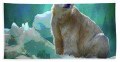 Beach Towel featuring the digital art Polar Bear by Mimulux patricia No