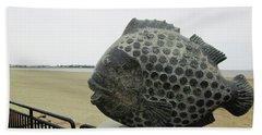 Polka Dotted Fish Sculpture Beach Towel