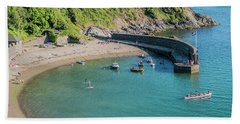 Polkerris Beach And Harbour Beach Sheet by Hazy Apple