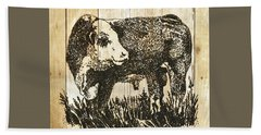Polled Hereford Bull 11 Beach Sheet by Larry Campbell
