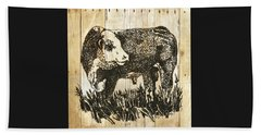 Polled Hereford Bull 11 Beach Towel