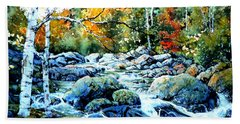 Beach Towel featuring the painting Polliwog Clearing by Hanne Lore Koehler