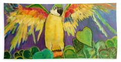 Beach Towel featuring the painting Polly Wants More Than A Cracker by Rosemary Aubut