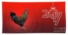 Polygonal Rooster Leghorn Cock On The Red Background Beach Towel