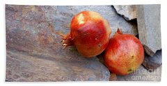 Beach Sheet featuring the photograph Pomegranates On Stone by Cindy Garber Iverson