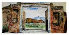 Pompeii Doorway Beach Towel by Clyde J Kell