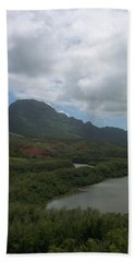 Pond And Mountain Landscape Beach Sheet