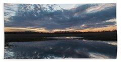 Pond And Sky Reflection3a Beach Towel