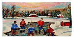 Pond Hockey Countryscene Beach Sheet by Carole Spandau