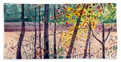Pond In Fall Beach Towel