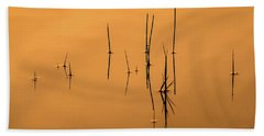 Pond Reeds In Reflected Sunrise Beach Towel