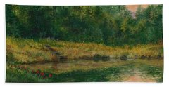 Pond With Spider Lilies Beach Towel