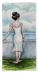 Beach Sheet featuring the painting Ponder by Elizabeth Robinette Tyndall