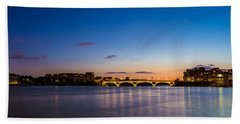 Pont Des Catalans And Garonne River At Night Beach Sheet by Semmick Photo