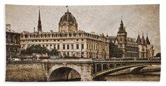 Paris, France - Pont Notre Dame Oldstyle Beach Towel