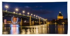 Pont Saint-pierre With Street Lanterns At Night Beach Sheet by Semmick Photo
