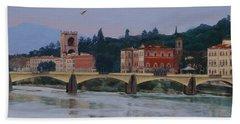 Pont Vecchio Landscape Beach Sheet by Lynne Reichhart