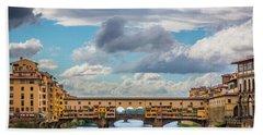 Ponte Vecchio Clouds Beach Sheet