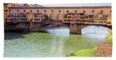 Beach Towel featuring the photograph Ponte Vecchio Florence Italy II Painterly by Joan Carroll