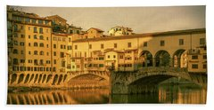 Beach Towel featuring the photograph Ponte Vecchio Morning Florence Italy by Joan Carroll