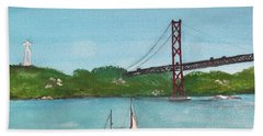 Ponte Vinte E Cinco De Abril Beach Towel