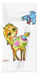Pony And The Bluebird Watercolor Pencil Art Beach Towel by Shelley Overton