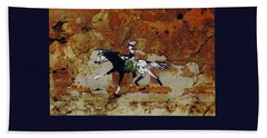 Pony Express Rider Beach Towel by Larry Campbell