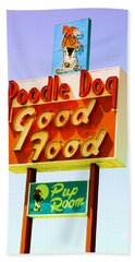 Poodle Dog Diner Beach Towel
