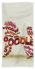 Beach Sheet featuring the painting Poodle Dog Watercolor Painting / Typographic Art by Inspirowl Design