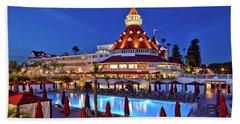 Poolside At The Hotel Del Coronado  Beach Towel by Sam Antonio Photography