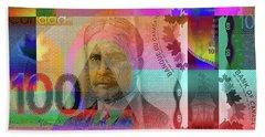 Pop-art Colorized New One Hundred Canadian Dollar Bill Beach Towel