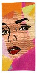 Beach Sheet featuring the mixed media Pop Art Comic Woman by Dan Sproul