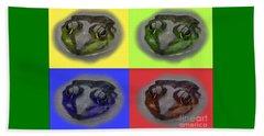 Pop Art Frog Face Beach Sheet by Carol F Austin