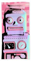 Pop Art Poster Robot Beach Towel