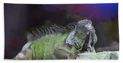 Beach Sheet featuring the painting Pop Iguana Edition 2 by Judy Kay