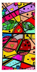 Beach Towel featuring the digital art Popart Cherry By Nico Bielow by Nico Bielow