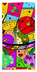Beach Towel featuring the digital art Popart Fruits By Nico Bielow by Nico Bielow