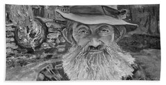 Popcorn Sutton - Black And White - Rocket Fuel Beach Sheet