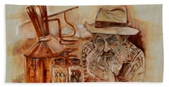 Beach Towel featuring the painting Popcorn Sutton - Waiting On Shine by Jan Dappen