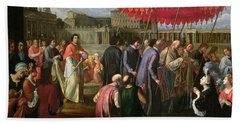 Pope Clement Xi In A Procession In St. Peter's Square In Rome Beach Towel