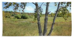 Poplar Tree In Autumn Meadow Beach Sheet