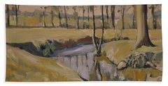 Poplars And Mistletoe Along The River Geul Cottessen Beach Towel